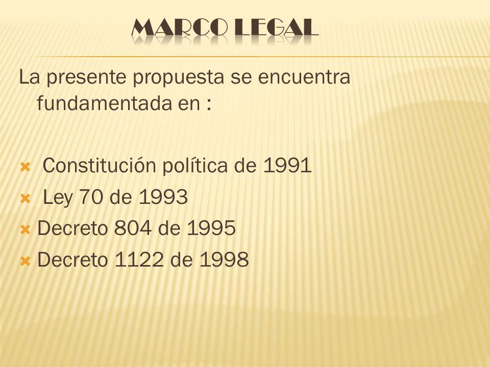 La presente propuesta se encuentra fundamentada en : Constitución política de 1991 Ley 70 de 1993 Decreto 804 de 1995 Decreto 1122 de 1998