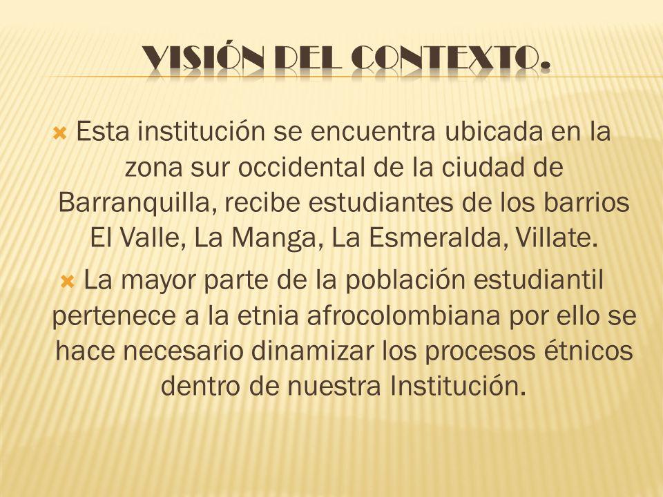 Esta institución se encuentra ubicada en la zona sur occidental de la ciudad de Barranquilla, recibe estudiantes de los barrios El Valle, La Manga, La