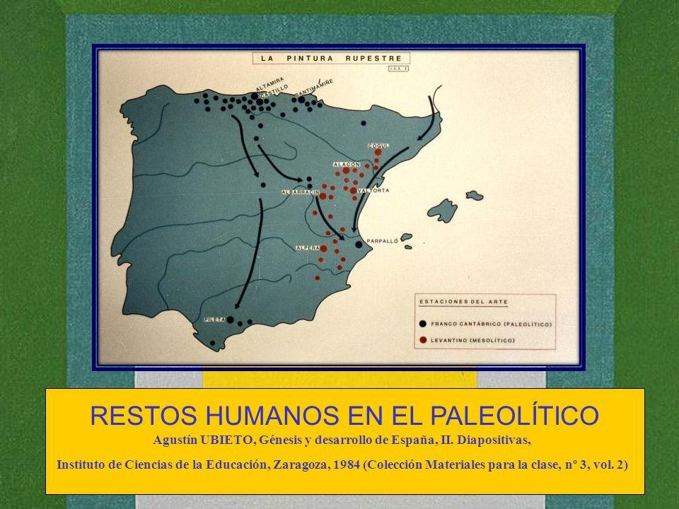 RESTOS HUMANOS EN EL PALEOLÍTICO Agustín UBIETO, Génesis y desarrollo de España, II. Diapositivas, Instituto de Ciencias de la Educación, Zaragoza, 19