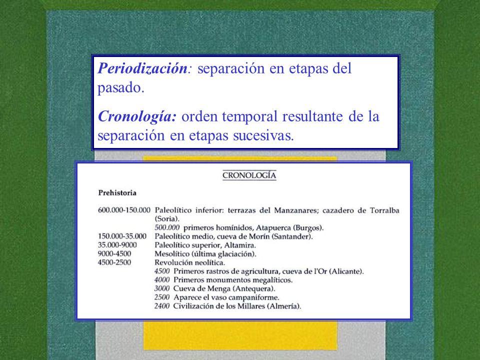 Periodización: separación en etapas del pasado. Cronología: orden temporal resultante de la separación en etapas sucesivas.