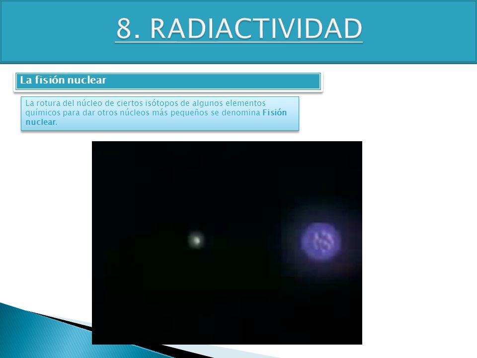 TEMA 4 3º ESO FÍSICA-QUÍMICA La fisión nuclear La rotura del núcleo de ciertos isótopos de algunos elementos químicos para dar otros núcleos más peque