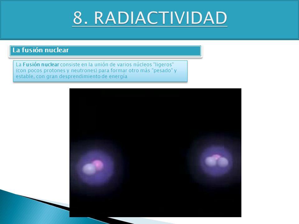 TEMA 4 3º ESO FÍSICA-QUÍMICA La fusión nuclear La Fusión nuclear consiste en la unión de varios núcleos