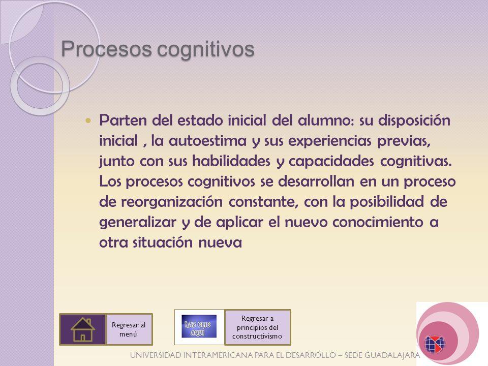 UNIVERSIDAD INTERAMERICANA PARA EL DESARROLLO – SEDE GUADALAJARA Procesos cognitivos Parten del estado inicial del alumno: su disposición inicial, la