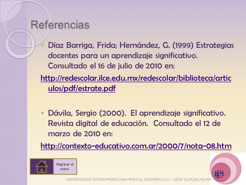 UNIVERSIDAD INTERAMERICANA PARA EL DESARROLLO – SEDE GUADALAJARA Referencias Díaz Barriga, Frida; Hernández, G. (1999) Estrategias docentes para un ap
