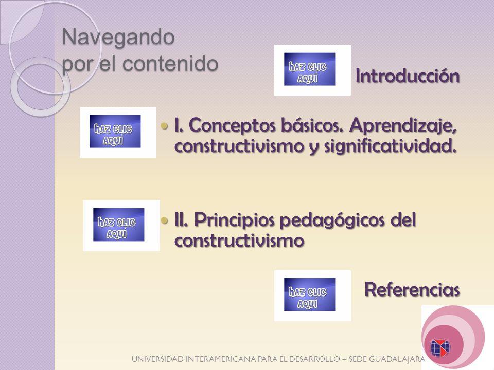 UNIVERSIDAD INTERAMERICANA PARA EL DESARROLLO – SEDE GUADALAJARA Navegando por el contenido Introducción Introducción I. Conceptos básicos. Aprendizaj
