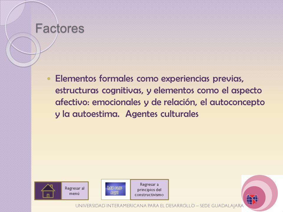 UNIVERSIDAD INTERAMERICANA PARA EL DESARROLLO – SEDE GUADALAJARA Factores Elementos formales como experiencias previas, estructuras cognitivas, y elem