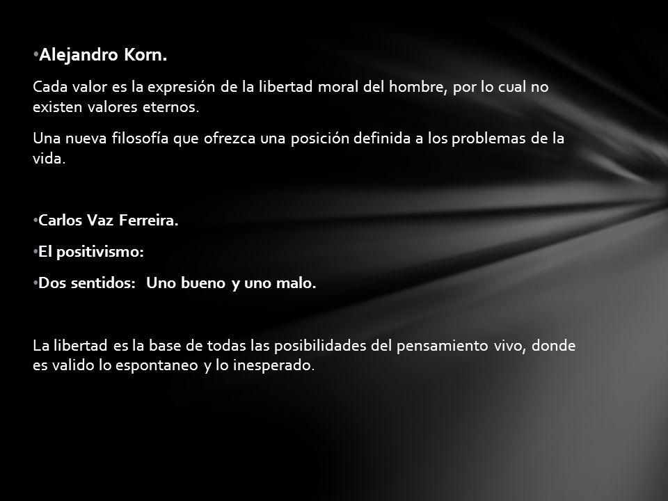 Alejandro Korn. Cada valor es la expresión de la libertad moral del hombre, por lo cual no existen valores eternos. Una nueva filosofía que ofrezca un