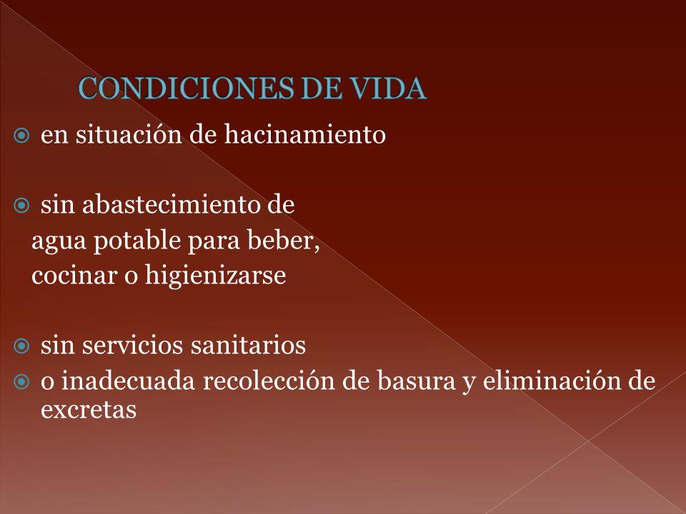 en situación de hacinamiento sin abastecimiento de agua potable para beber, cocinar o higienizarse sin servicios sanitarios o inadecuada recolección d
