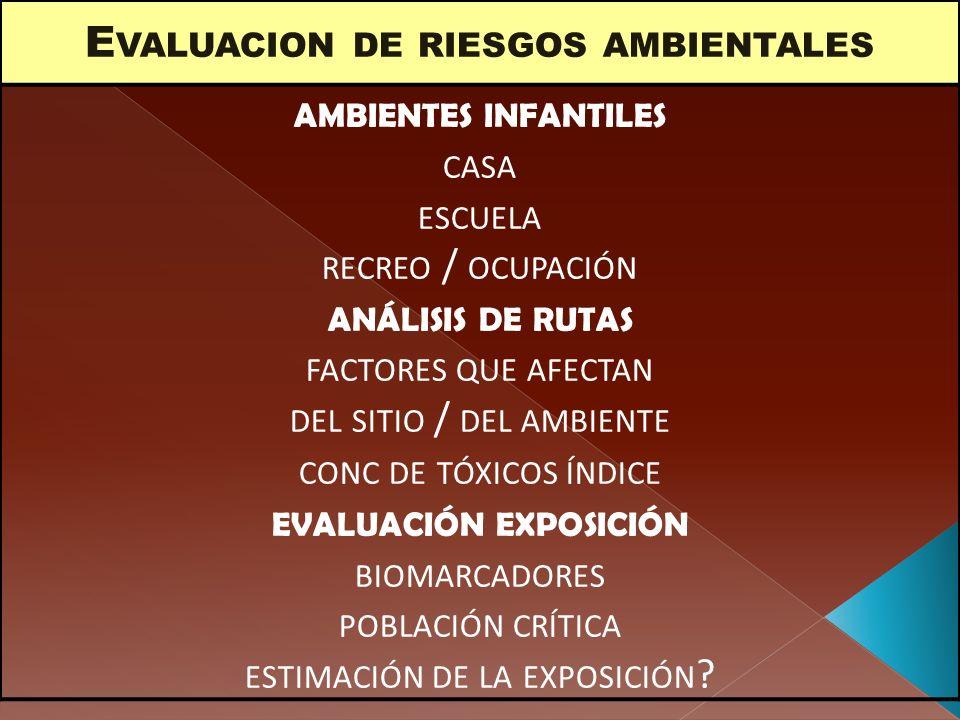 E VALUACION DE RIESGOS AMBIENTALES AMBIENTES INFANTILES CASA ESCUELA RECREO / OCUPACIÓN ANÁLISIS DE RUTAS FACTORES QUE AFECTAN DEL SITIO / DEL AMBIENT