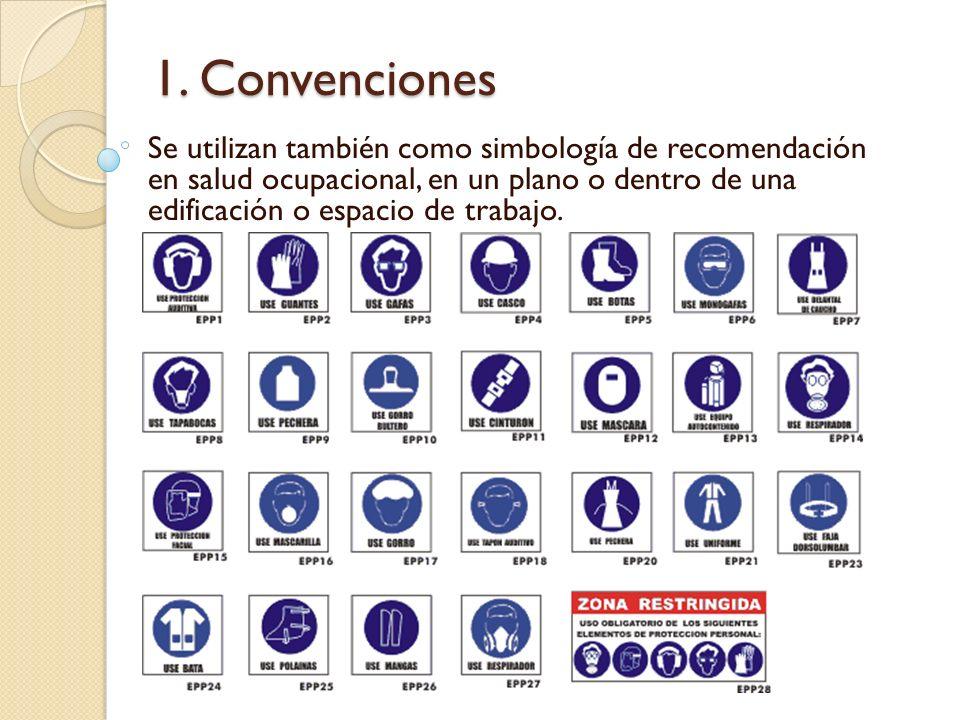 1. Convenciones Se utilizan también como simbología de recomendación en salud ocupacional, en un plano o dentro de una edificación o espacio de trabaj