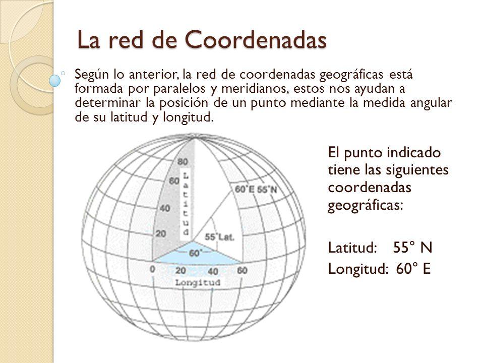 La red de Coordenadas Según lo anterior, la red de coordenadas geográficas está formada por paralelos y meridianos, estos nos ayudan a determinar la p