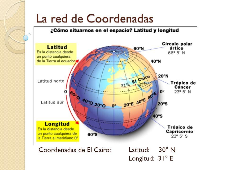 La red de Coordenadas Coordenadas de El Cairo: Latitud: 30° N Longitud: 31° E