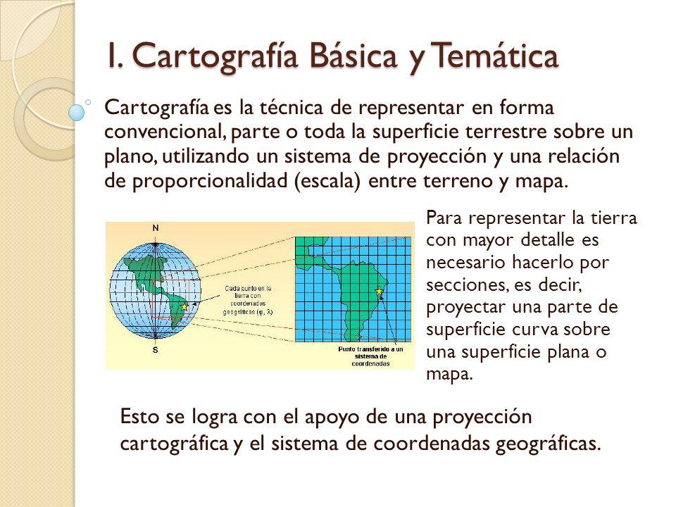 I. Cartografía Básica y Temática Cartografía es la técnica de representar en forma convencional, parte o toda la superficie terrestre sobre un plano,