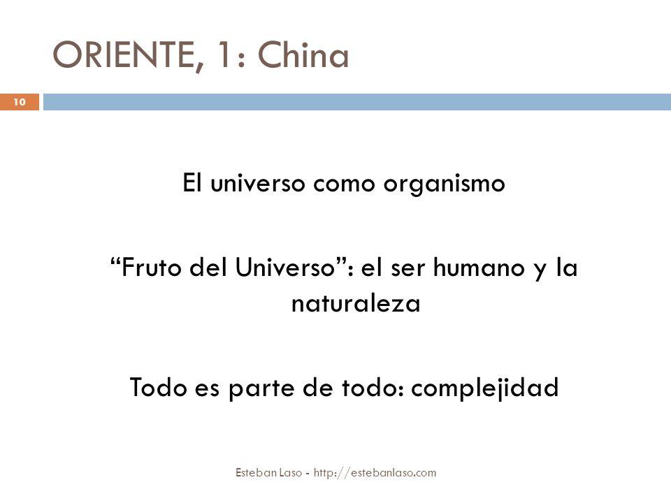 ORIENTE, 1: China Esteban Laso - http://estebanlaso.com El universo como organismo Fruto del Universo: el ser humano y la naturaleza Todo es parte de