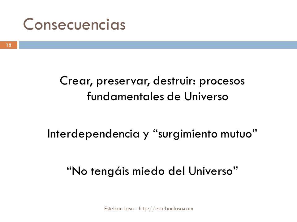 Consecuencias Esteban Laso - http://estebanlaso.com Crear, preservar, destruir: procesos fundamentales de Universo Interdependencia y surgimiento mutu