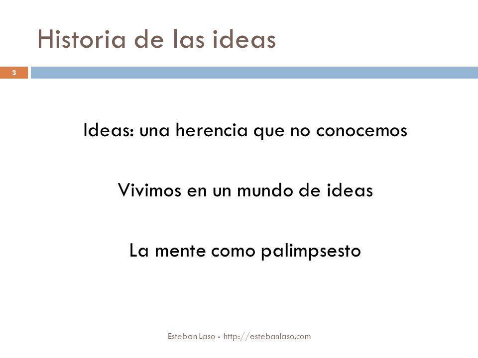 Historia de las ideas Esteban Laso - http://estebanlaso.com Ideas: una herencia que no conocemos Vivimos en un mundo de ideas La mente como palimpsest