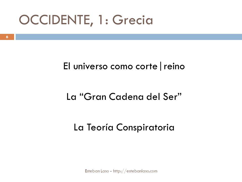 OCCIDENTE, 1: Grecia Esteban Laso - http://estebanlaso.com El universo como corte|reino La Gran Cadena del Ser La Teoría Conspiratoria 6