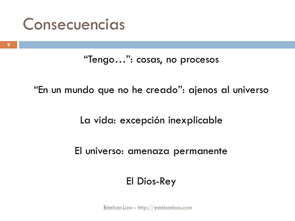 Consecuencias Esteban Laso - http://estebanlaso.com Tengo…: cosas, no procesos En un mundo que no he creado: ajenos al universo La vida: excepción ine