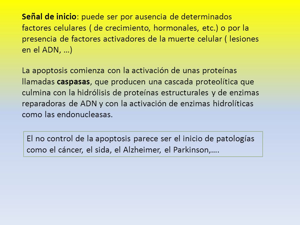 Señal de inicio: puede ser por ausencia de determinados factores celulares ( de crecimiento, hormonales, etc.) o por la presencia de factores activado