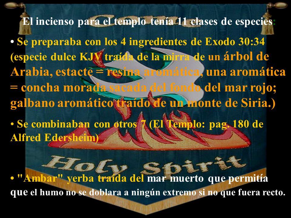 El incienso para el templo tenía 11 clases de especies: Se preparaba con los 4 ingredientes de Exodo 30:34 (especie dulce KJV traída de la mirra de un