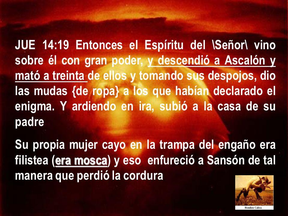 JUE 14:19 Entonces el Espíritu del \Señor\ vino sobre él con gran poder, y descendió a Ascalón y mató a treinta de ellos y tomando sus despojos, dio l