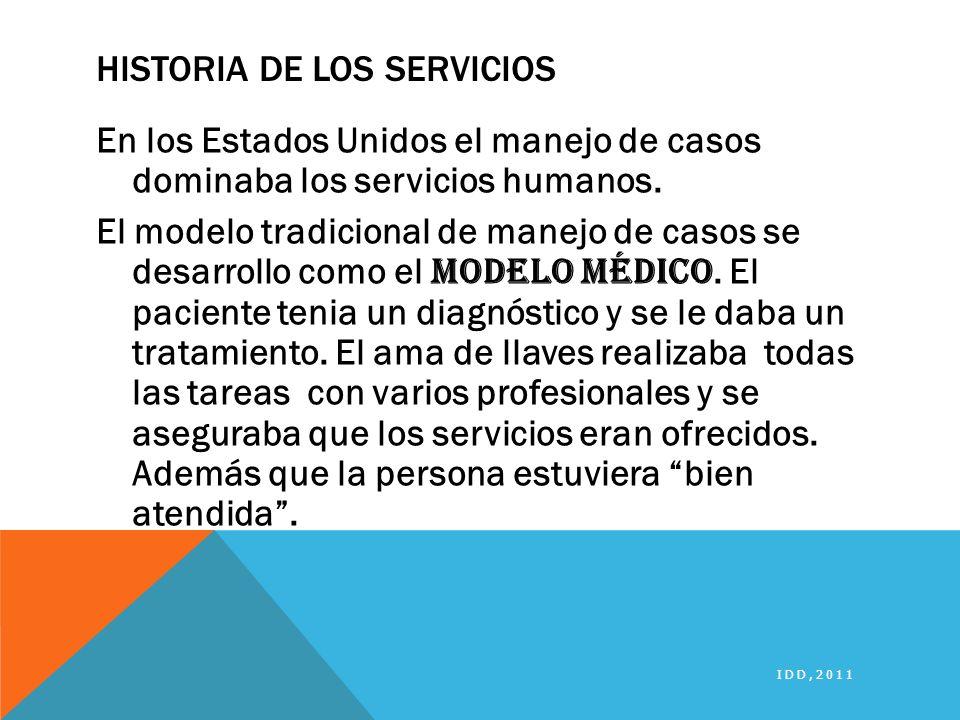 HISTORIA DE LOS SERVICIOS En los Estados Unidos el manejo de casos dominaba los servicios humanos. El modelo tradicional de manejo de casos se desarro