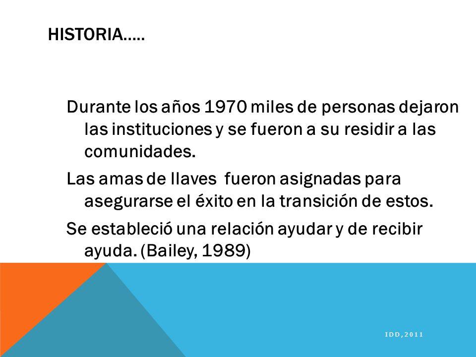 HISTORIA….. Durante los años 1970 miles de personas dejaron las instituciones y se fueron a su residir a las comunidades. Las amas de llaves fueron as