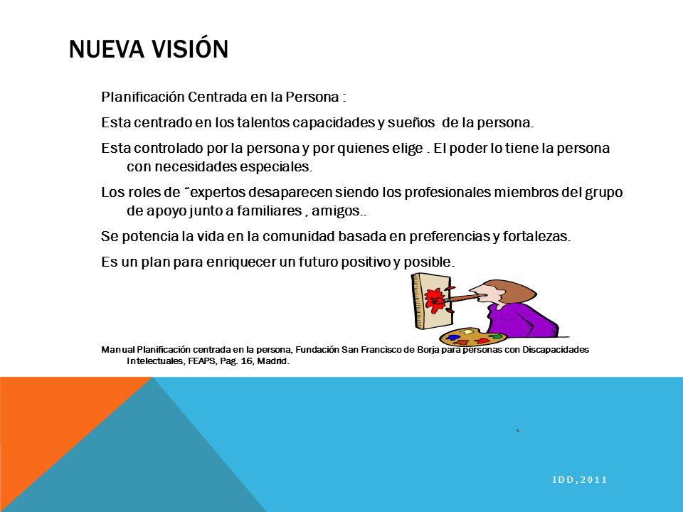 NUEVA VISIÓN Planificación Centrada en la Persona : Esta centrado en los talentos capacidades y sueños de la persona. Esta controlado por la persona y