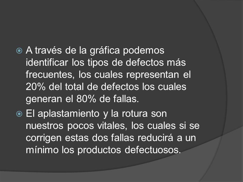 A través de la gráfica podemos identificar los tipos de defectos más frecuentes, los cuales representan el 20% del total de defectos los cuales genera
