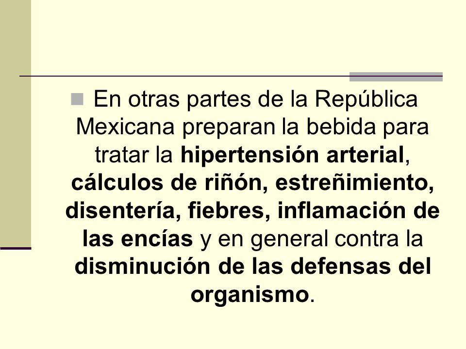 En otras partes de la República Mexicana preparan la bebida para tratar la hipertensión arterial, cálculos de riñón, estreñimiento, disentería, fiebre