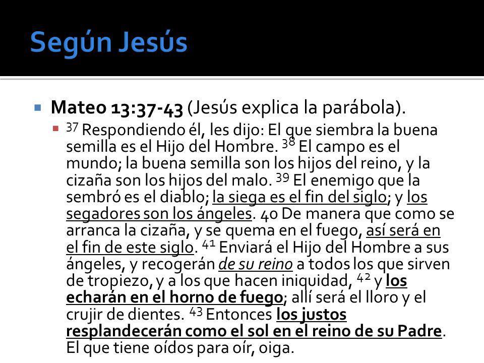 Mateo 13:37-43 (Jesús explica la parábola). 37 Respondiendo él, les dijo: El que siembra la buena semilla es el Hijo del Hombre. 38 El campo es el mun