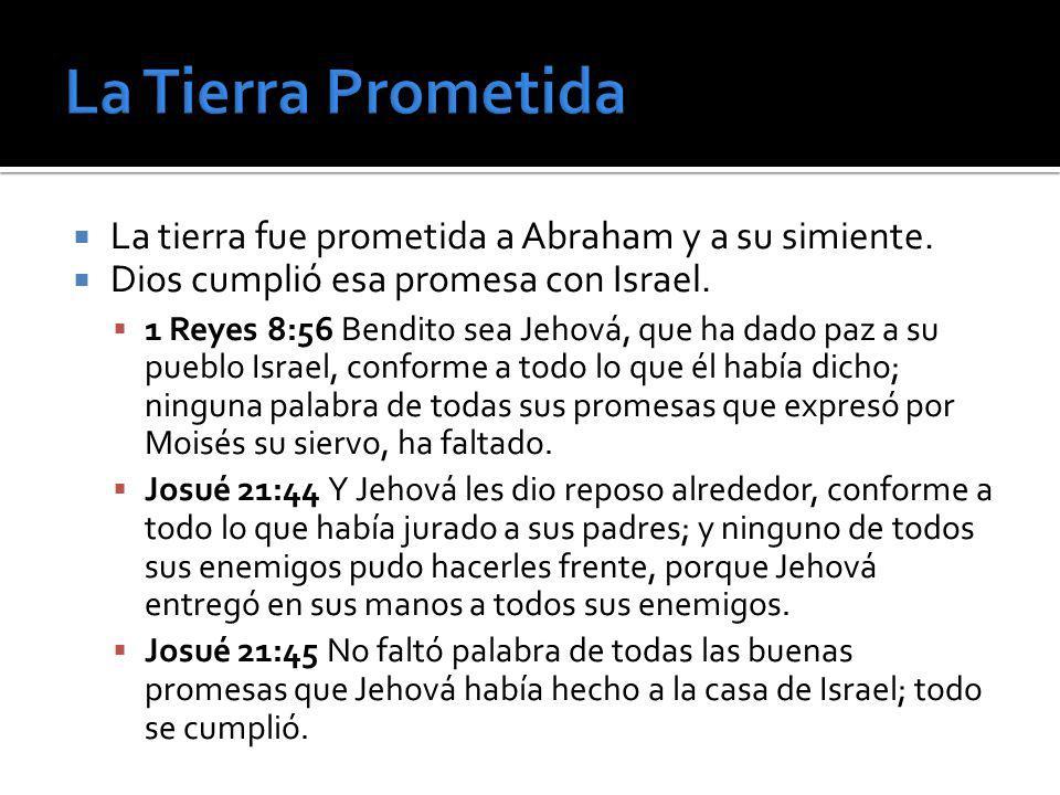 La tierra fue prometida a Abraham y a su simiente. Dios cumplió esa promesa con Israel. 1 Reyes 8:56 Bendito sea Jehová, que ha dado paz a su pueblo I