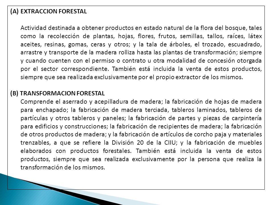 (A)EXTRACCION FORESTAL Actividad destinada a obtener productos en estado natural de la flora del bosque, tales como la recolección de plantas, hojas,