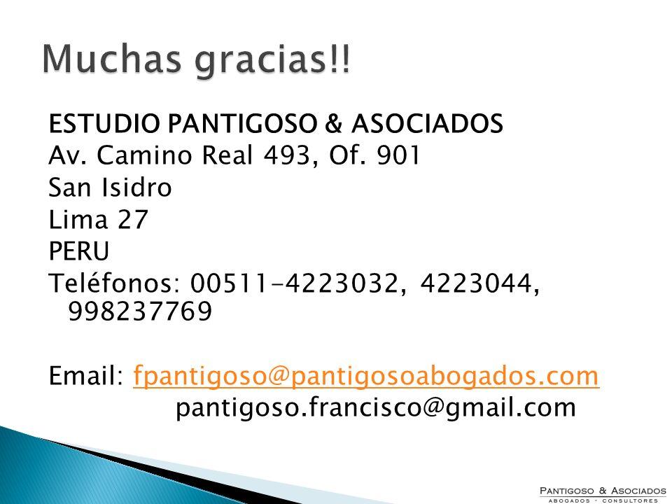 Muchas gracias!! ESTUDIO PANTIGOSO & ASOCIADOS Av. Camino Real 493, Of. 901 San Isidro Lima 27 PERU Teléfonos: 00511-4223032, 4223044, 998237769 Email