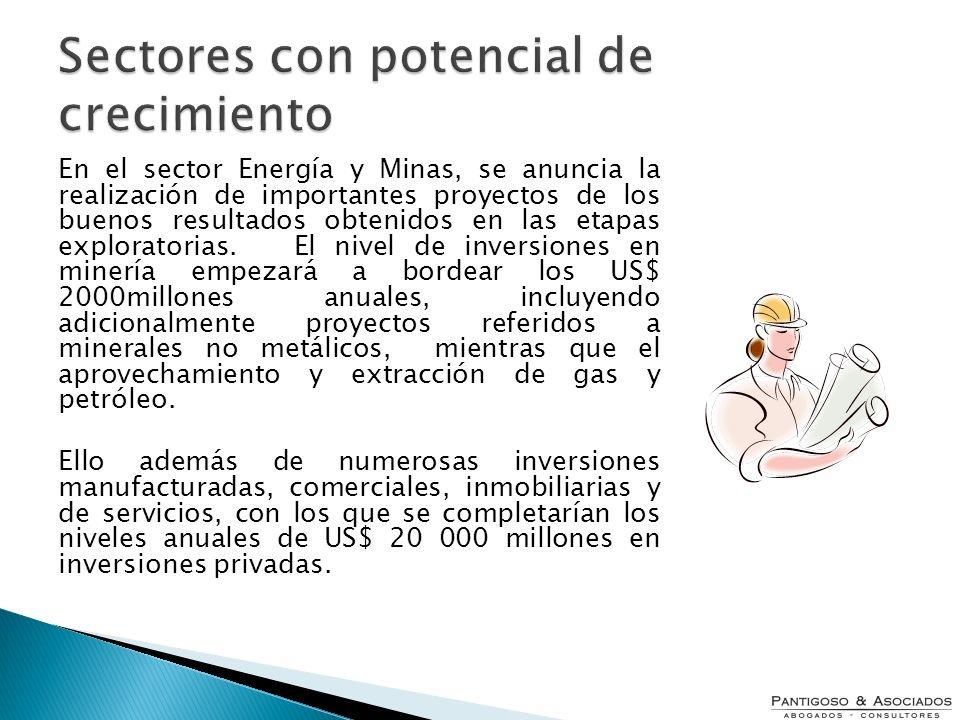 En el sector Energía y Minas, se anuncia la realización de importantes proyectos de los buenos resultados obtenidos en las etapas exploratorias. El ni