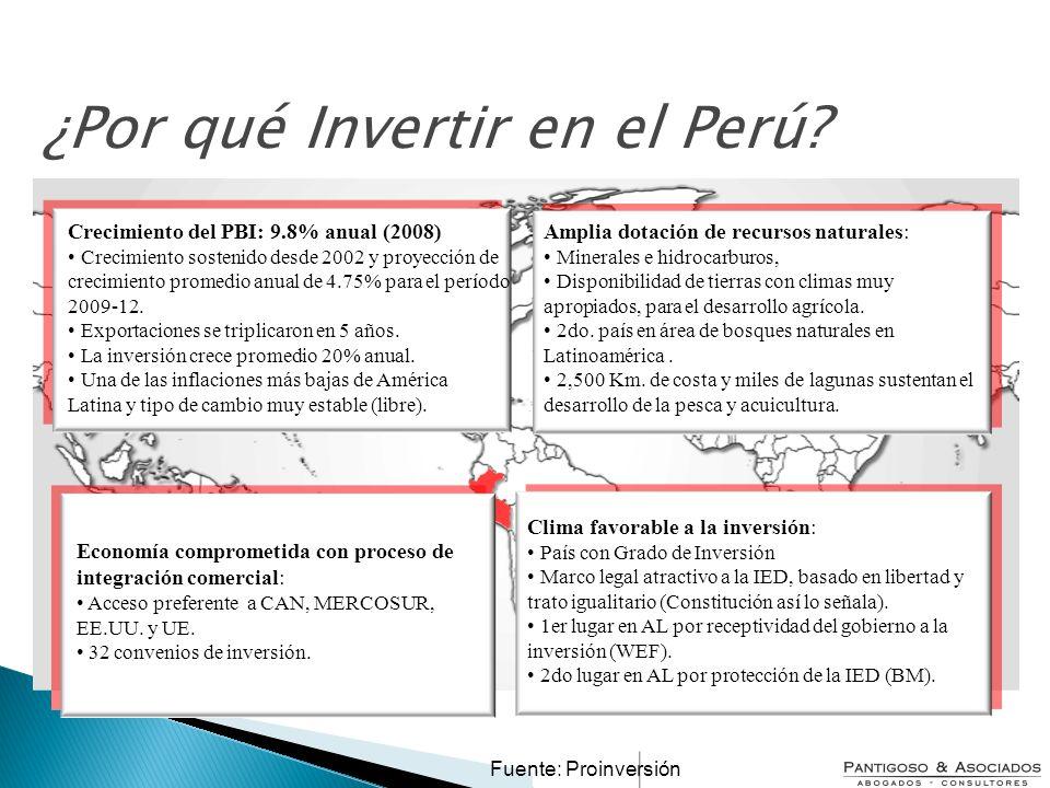 ¿Por qué Invertir en el Perú? Crecimiento del PBI: 9.8% anual (2008) Crecimiento sostenido desde 2002 y proyección de crecimiento promedio anual de 4.