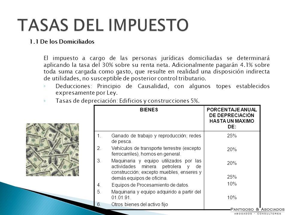 1.1 De los Domiciliados El impuesto a cargo de las personas jurídicas domiciliadas se determinará aplicando la tasa del 30% sobre su renta neta. Adici