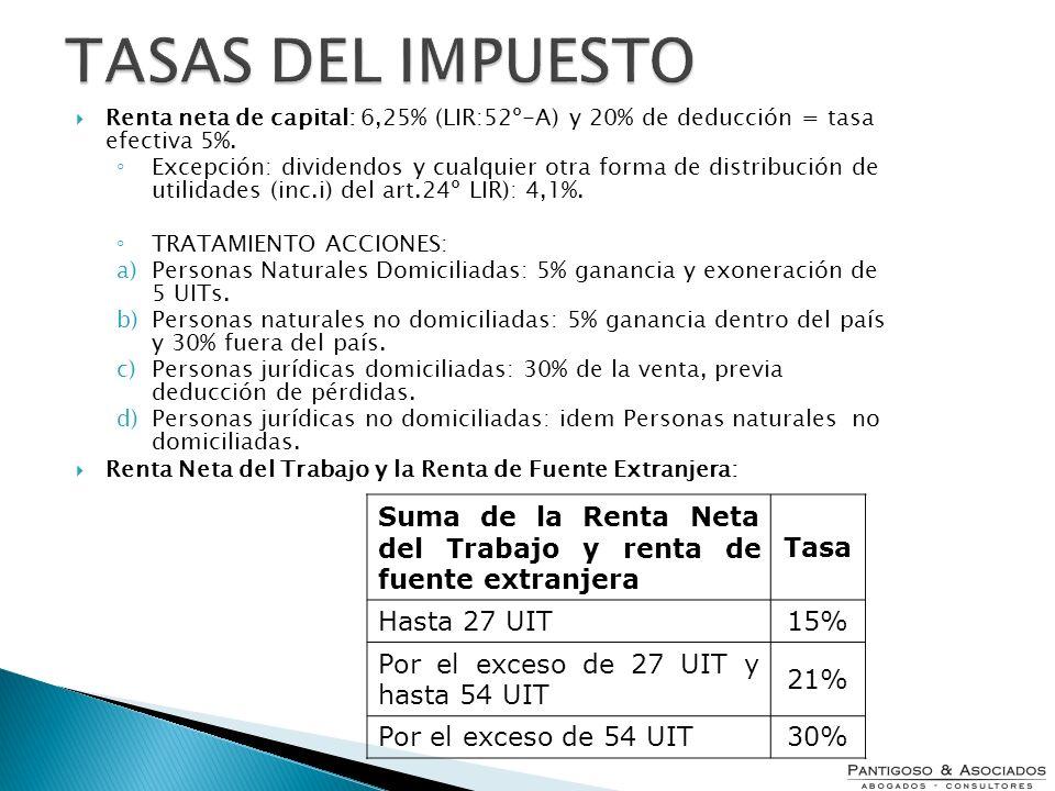 Renta neta de capital: 6,25% (LIR:52º-A) y 20% de deducción = tasa efectiva 5%. Excepción: dividendos y cualquier otra forma de distribución de utilid