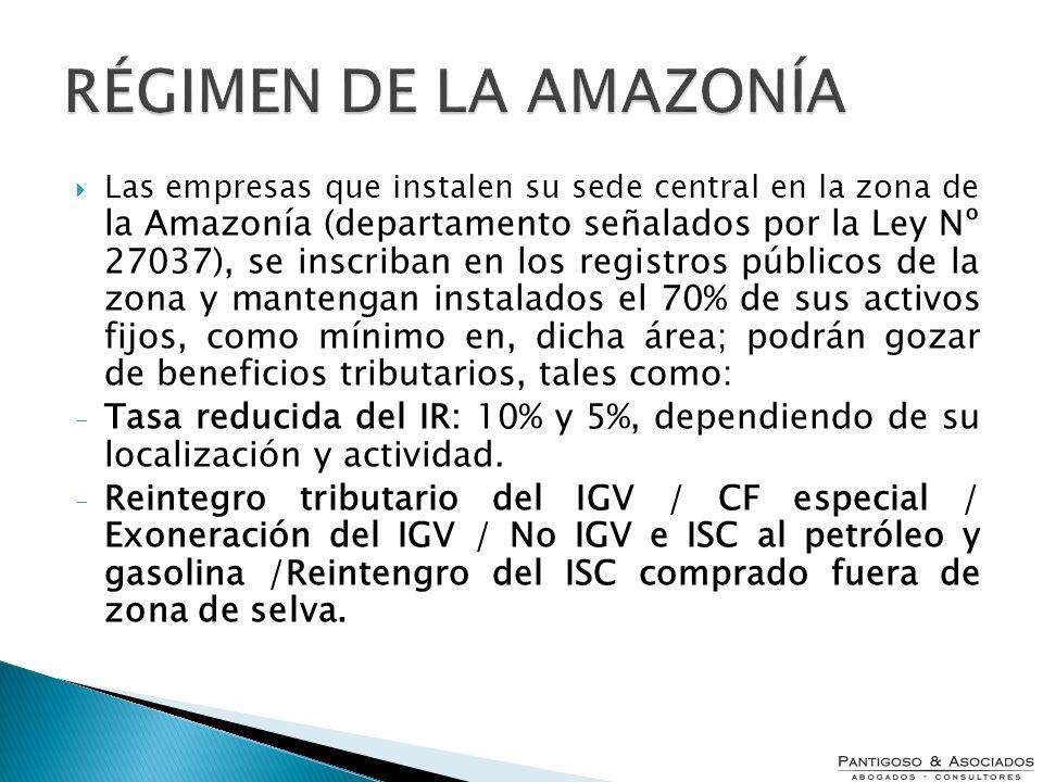 Las empresas que instalen su sede central en la zona de la Amazonía (departamento señalados por la Ley Nº 27037), se inscriban en los registros públic