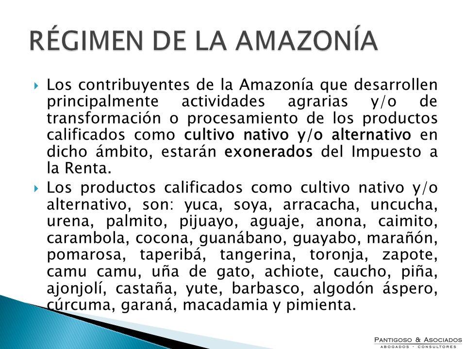 Los contribuyentes de la Amazonía que desarrollen principalmente actividades agrarias y/o de transformación o procesamiento de los productos calificad