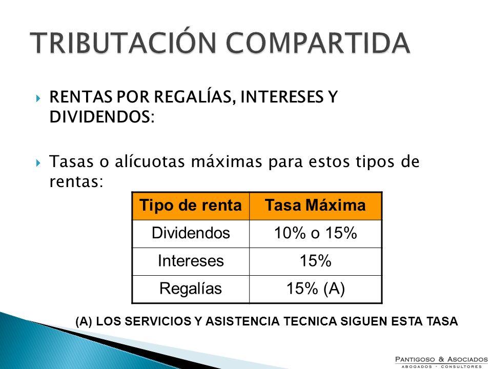 TRIBUTACIÓN COMPARTIDA RENTAS POR REGALÍAS, INTERESES Y DIVIDENDOS: Tasas o alícuotas máximas para estos tipos de rentas: Tipo de rentaTasa Máxima Div