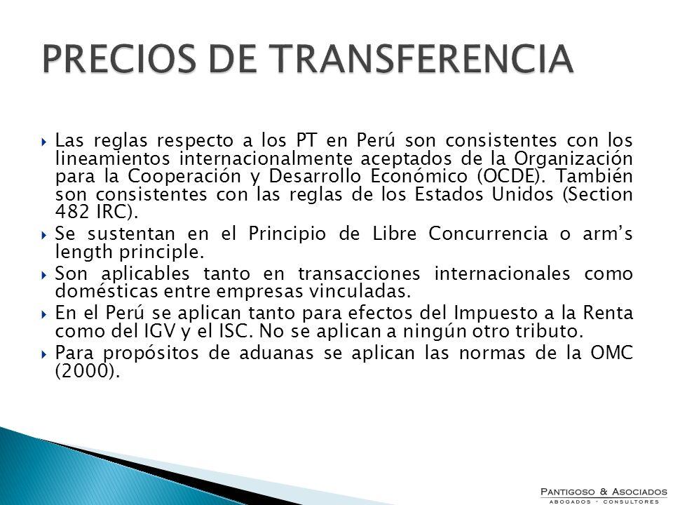 Las reglas respecto a los PT en Perú son consistentes con los lineamientos internacionalmente aceptados de la Organización para la Cooperación y Desar
