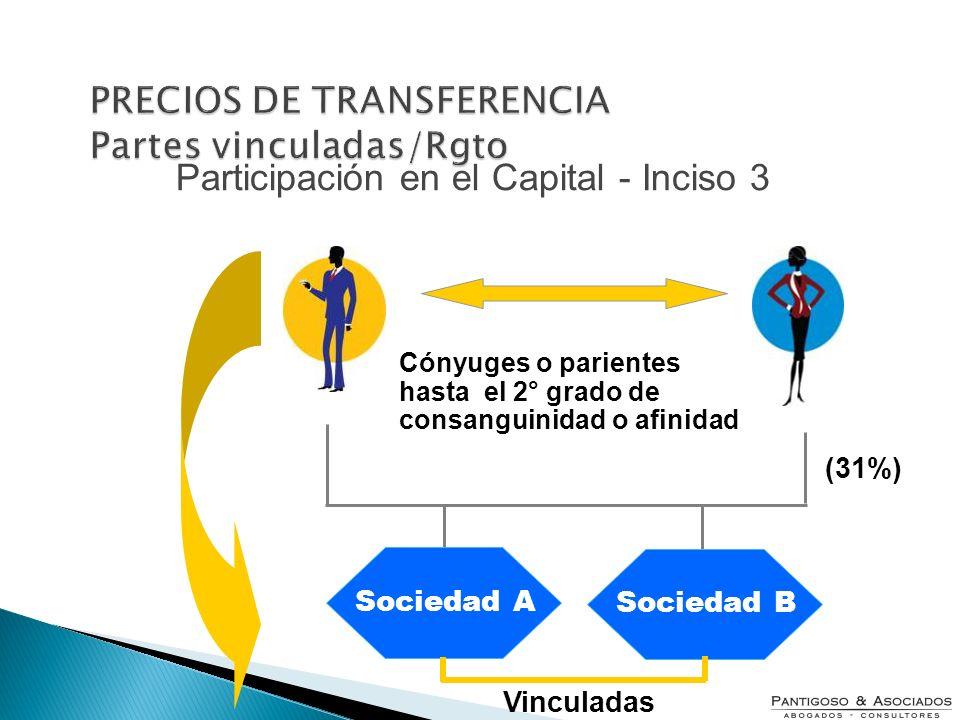 (31%) Cónyuges o parientes hasta el 2° grado de consanguinidad o afinidad Participación en el Capital - Inciso 3 Sociedad A Sociedad B Vinculadas