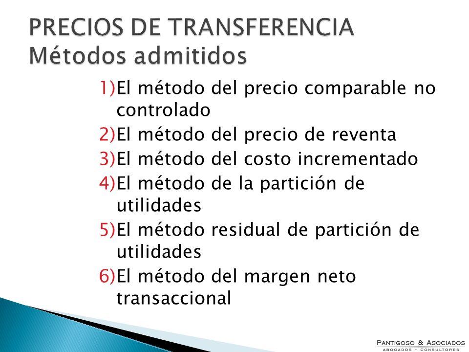 1)El método del precio comparable no controlado 2)El método del precio de reventa 3)El método del costo incrementado 4)El método de la partición de ut