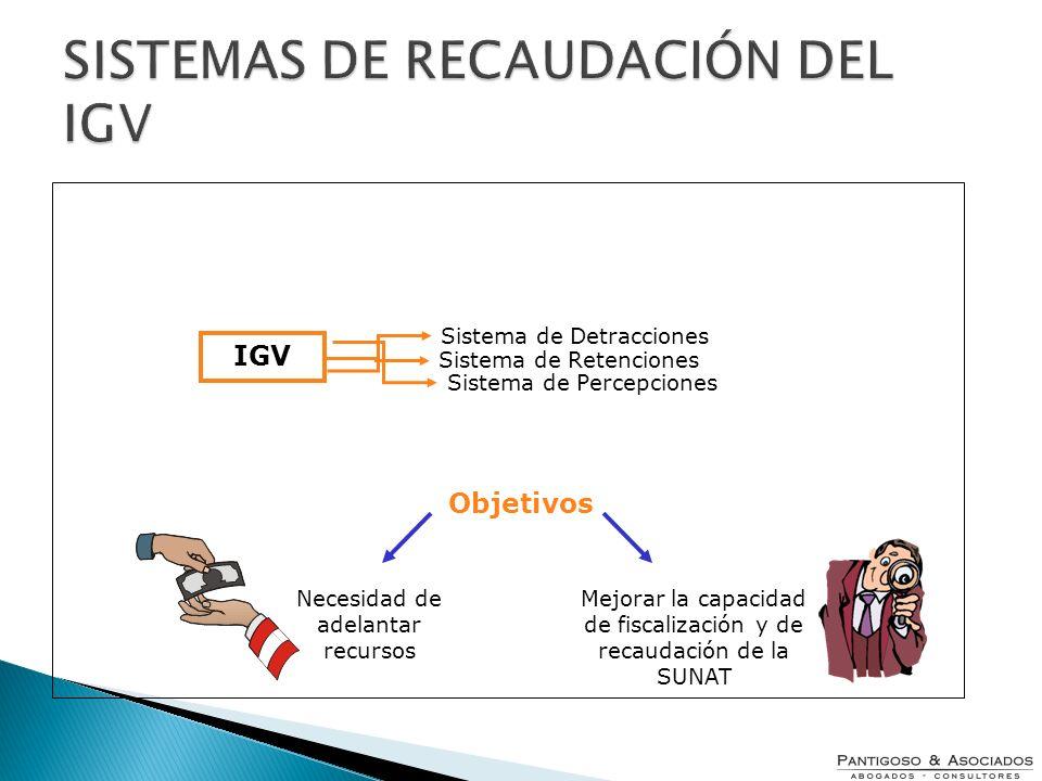 IGV Sistema de Percepciones Sistema de Retenciones Sistema de Detracciones Objetivos Necesidad de adelantar recursos Mejorar la capacidad de fiscaliza