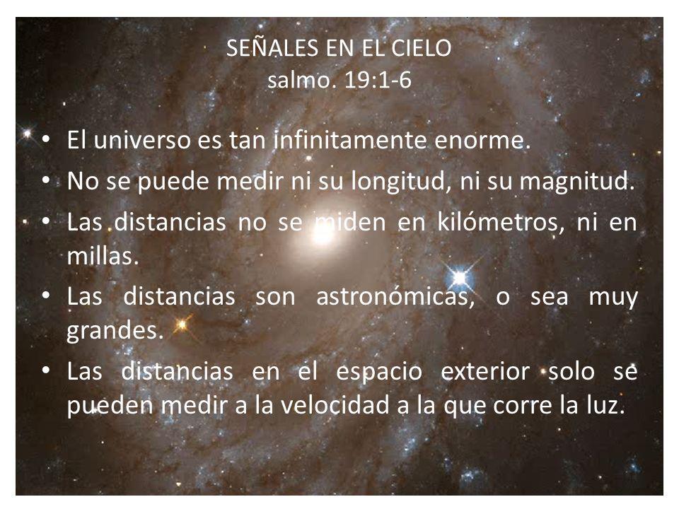 SEÑALES EN EL CIELO salmo.19:1-6 El universo es tan infinitamente enorme.