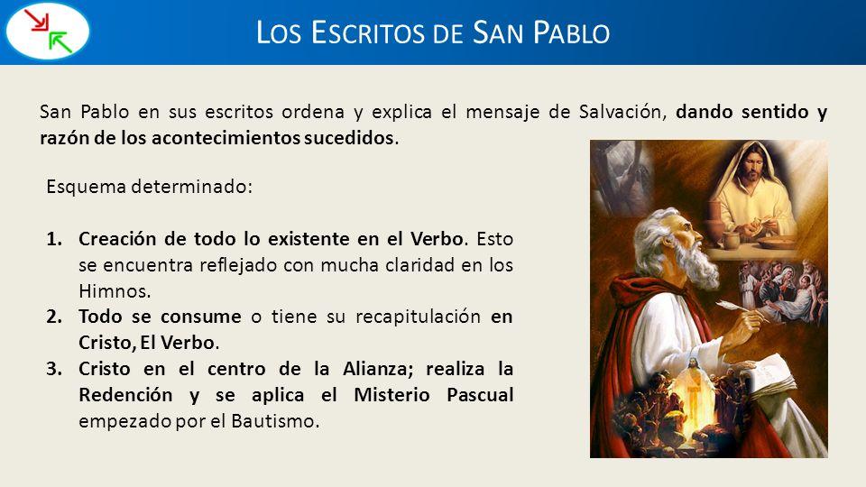 L OS E SCRITOS DE S AN P ABLO San Pablo en sus escritos ordena y explica el mensaje de Salvación, dando sentido y razón de los acontecimientos sucedid