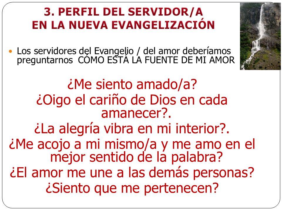 Los servidores del Evangelio / del amor deberíamos preguntarnos CÓMO ESTÁ LA FUENTE DE MI AMOR ¿Me siento amado/a? ¿Oigo el cariño de Dios en cada ama