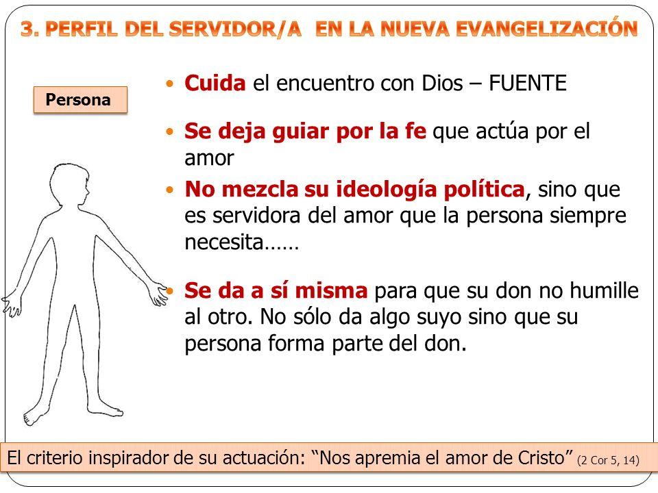 Cuida el encuentro con Dios – FUENTE Se deja guiar por la fe que actúa por el amor No mezcla su ideología política, sino que es servidora del amor que