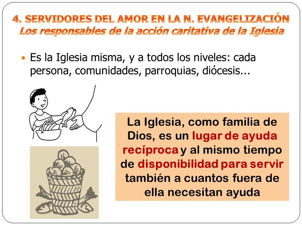 Es la Iglesia misma, y a todos los niveles: cada persona, comunidades, parroquias, diócesis... La Iglesia, como familia de Dios, es un lugar de ayuda